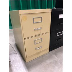 "Tan file cabinet 2 drawers 18"" x 28"" x 29"" comes with no key, Black file cabinet 2 drawers 18"" x 28"""