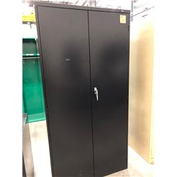 "Black cabinet 36"" x 18"" x 72"" with 4 adjustable shelves, no key"