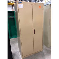"Tan cabinet 36"" x 20"" x 72"" with 4 adjustable shelves, no key"
