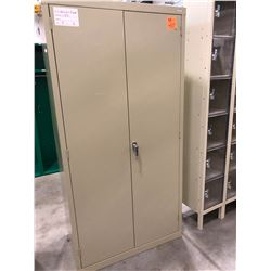 "Grey cabinet 36"" x 20"" x 72"" with 4 adjustable shelves, no key"