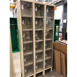 "Wallet Lockers 36"" x 78"" x 12"", 2 sections with 18 storage spots & comes with bag of lock and keys."