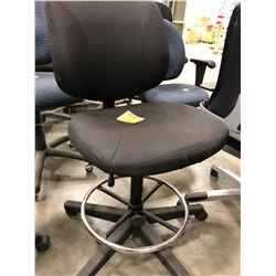 3 - Black office chairs with adjustable height, 1 chair has adjustable arm rest