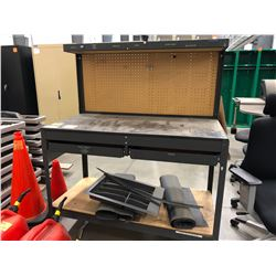"Metal shop bench with 2 drawers, 48"" x 25"" x 60"" and peg board (shop bench only)"