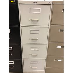 "File cabinet 4 drawer grey no key 18"" x 52"" x 26 1/2"""