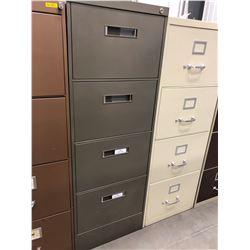 "File cabinet 4 drawer dark grey no key 18"" x 51"" x 28"""