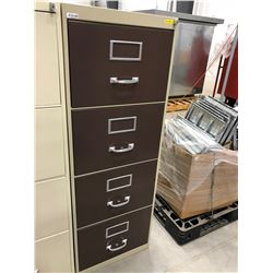 "File cabinet 4 drawer grey with brown drawers no key 18"" x 52"" x 26 1/2"