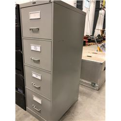 "File cabinet 4 drawer grey no key 18"" x 52"" x 26 1/2 has dent in bottom right side"