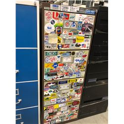 "File cabinet 4 drawer brown with white drawers covered with stickers no key 18"" x 51"" x 28"""