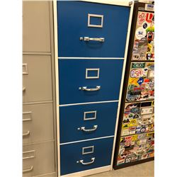 "File cabinet 4 drawer white with blue drawers no key 18"" x 51"" x 28"