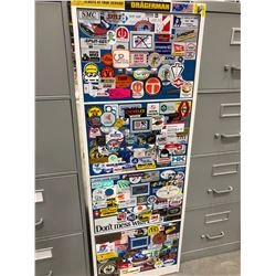 "File cabinet 4 drawer white with blue doors covered with stickers no key 18"" x 51"" x 28"""