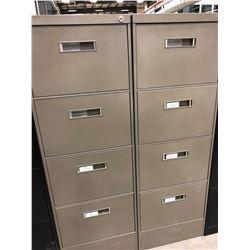 "2 File cabinets 4 drawer dark grey no key 18"" x 52 1/2"" x 28 1/2"""