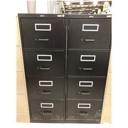 "2 File cabinet 4 drawer black no key 18"" x 52"" x 26 1/2"""