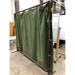 "Wilson welding curtain 10' x 73"" black steel frame green material"