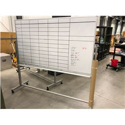"Rolling erasable white board 73 3/4"" x 40 1/4"" overall height 69"" backside has binder rings attached"