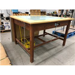 "Drafting table, adjustable top with light behind glass 59 1/2"" x 47 1/4"" x 36 3/4"""
