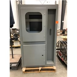 "Steel enclosure 42"" x 41"" x 72 1/2"" grey powder coat paint, 3 doors, removable roof, cutouts/hole sa"