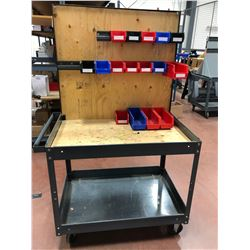 "Rolling parts cart 36"" x 24"" (plastic bins included)"