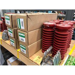 """Qty 3 5KV 50E AMP  Fuses, qty 6 10 1/2"""" insulators & 3 fuse clips"""