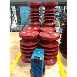 "Qty 8 6"" insulators, DC power supply"