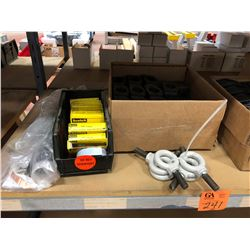 "Qty 4 1/2"" eye bolts, cold shrink, qty 8 semi-conducting tape, 3 boxes of assorted cable clamps"