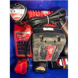 Milwaukee M18 drill, M12 drivers M12 light, 3 extra M12 battery & charging station