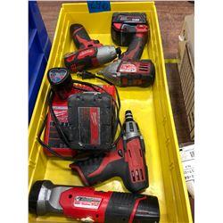 Milwaukee M18 drill, M18 impact, M12 driver, M12 impact M12 flashlight, 2 extra M12 battery & chargi
