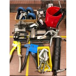 Assorted vices, casters, grease guns, pop rivet tools and C-clamps