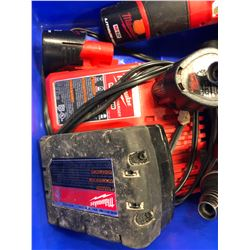Milwaukee M18 drill, qty 3 M12 driver, M12 flashlight, qty2 M12 battery, M18 battery and charger