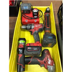 Milwaukee M18 drill, M18 angle drill, M12 impact, M12 flashlight, M12 battery, M18 battery and charg