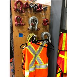 Assorted Shackles, slings and safety vests