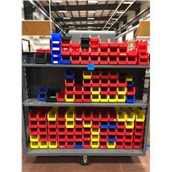 "Library cart 60"" x 30"" x 57"" 6 shelfs includes plastic bins"