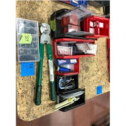 Assorted 120 volt lockouts, Greenlee cable strippers and blades 1903, deburring tools and blades, pe