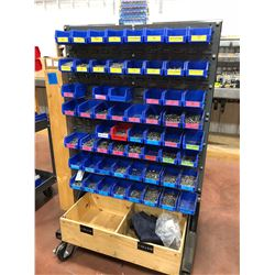 Rolling heavy duty hardware cart 36 x 26 x 60 powder coated includes assorted hardware