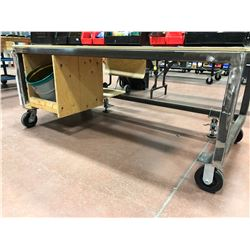 Heavy Duty rolling table. 72 x 36 x 30 - c/w packing paper and dispenser