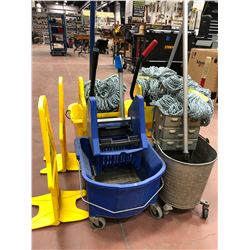 4 mop pails, 3 mops w/3 spare heads, 2 caution signs