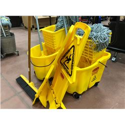 "2 mop pails, 2 mops w/2 spare heads, 2 caution signs, 1 - 18"" push broom"