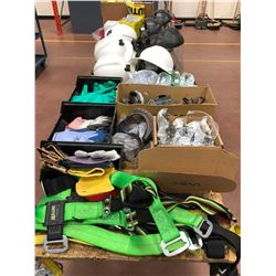 Safety Equipment - face shields, hard hats, goggles, safety glasses, fall arrest, assorted gloves, p