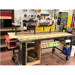 "Heavy duty custom rolling work bench 72"" x 36"" x 73"", wired with receptacles"