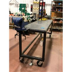 "Heavy duty custom rolling workbench 96"" x 24"" x 36"" c/w 8"" vise, wired with receptacles"
