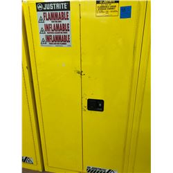 "JUSTRITE flammable liquid storage cabinet 34"" x 34"" x 65"" 2 shelves 1 roller tray no key"