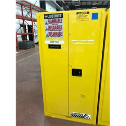"JUSTRITE flammable liquid storage cabinet 34"" x 34"" x 65"" 1 shelf 1 roller tray no key"