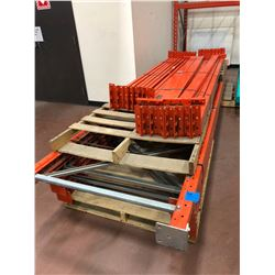 Orange Pallet racking 2 sections plus wire shelves
