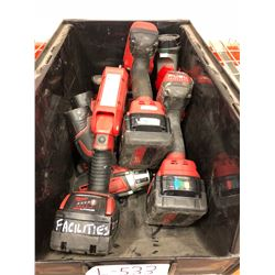 Milwaukee M18 drill Qty 2, M18 flashlight, M12 flashlight, M12 driver, M12 batteries Qty 2, M18 batt