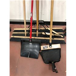 "4 - 36"" push brooms, 2 - hand brushes, 2 dustpans, 2 lobby dustpans, broom handle, 18 foot, deck scr"