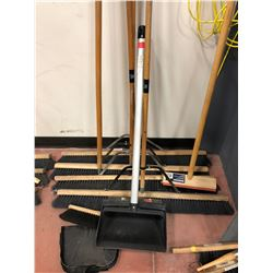 "1 - 24"" push broom, 4 - 36"" push brooms, 1 - hand brush, 2 dustpans, 1 lobby dustpan, 1 broom handle"