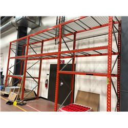 Orange Pallet racking 3 sections (shelving only)