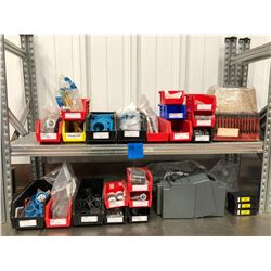 Galvanized shelf, assorted contents, GFCI breakers qty 4, Meltric plugs, twist lock receptacles, fib