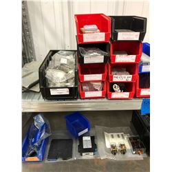 Galvanized shelf, assorted contents, GFCI breakers, breaker terminals, relays, CISCO 110-24 qty 7, A