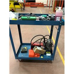 Burndy hydraulic crimper and punch cart, c/w cable dies, punch dies and extra fluid
