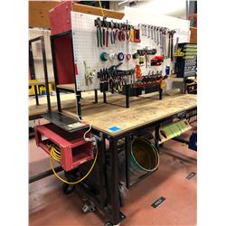 "Heavy duty custom rolling work bench 72"" x 36"" x 73"" powder coat black paint, wired with receptacles"